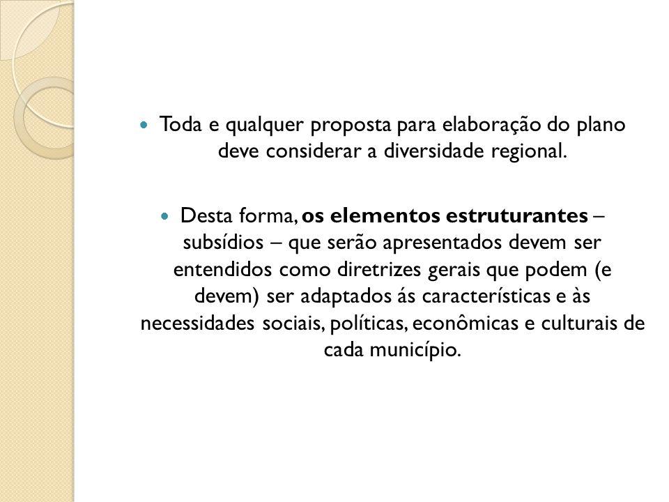 Toda e qualquer proposta para elaboração do plano deve considerar a diversidade regional.
