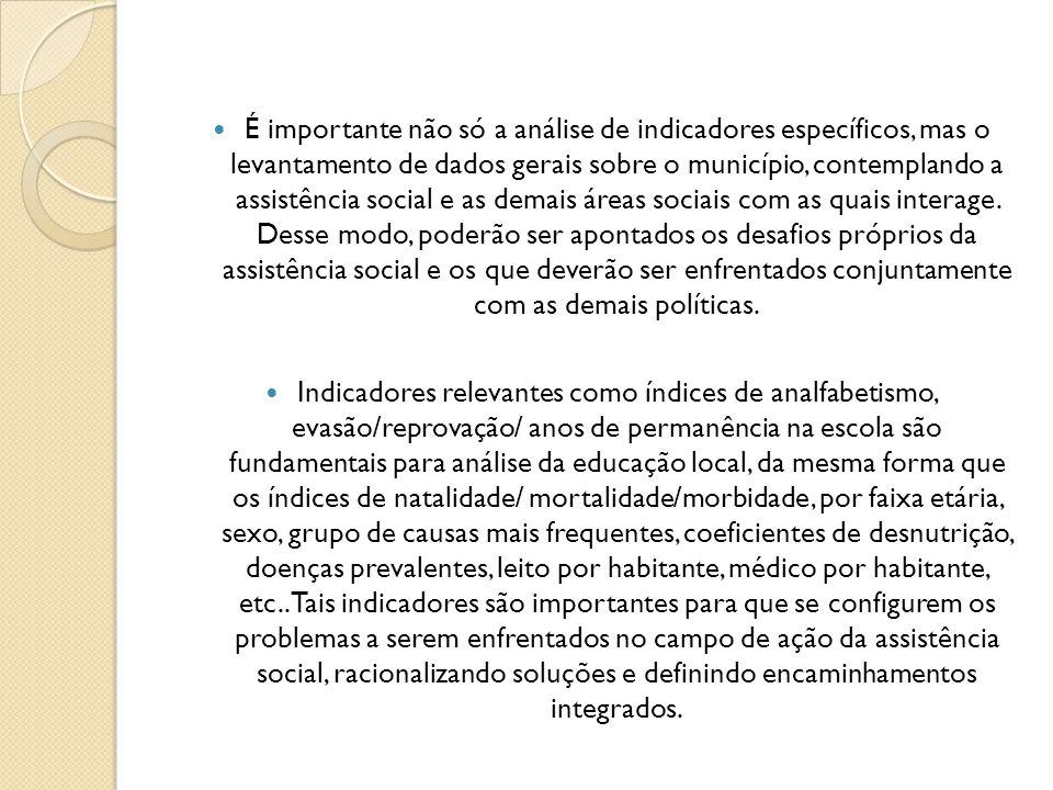 É importante não só a análise de indicadores específicos, mas o levantamento de dados gerais sobre o município, contemplando a assistência social e as demais áreas sociais com as quais interage. Desse modo, poderão ser apontados os desafios próprios da assistência social e os que deverão ser enfrentados conjuntamente com as demais políticas.