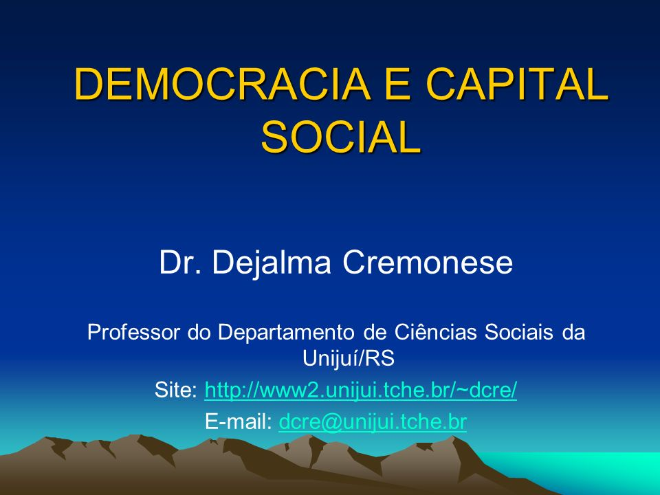DEMOCRACIA E CAPITAL SOCIAL