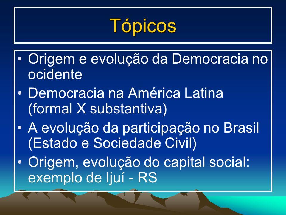 Tópicos Origem e evolução da Democracia no ocidente