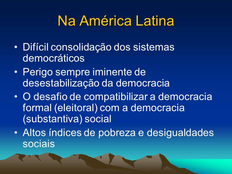 Na América Latina Difícil consolidação dos sistemas democráticos