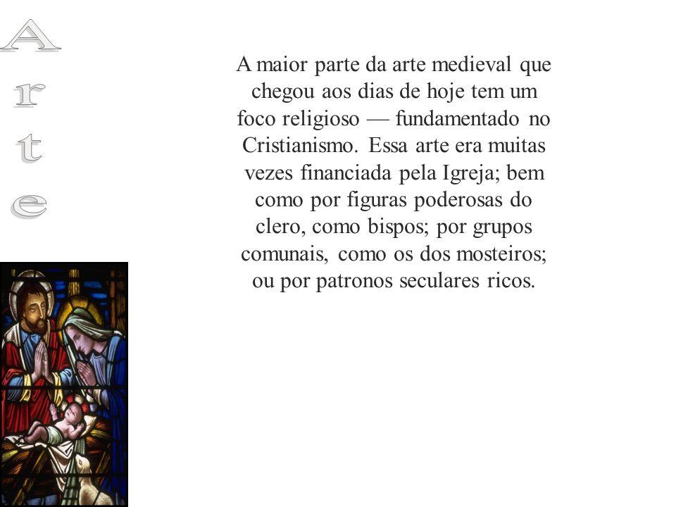 A maior parte da arte medieval que chegou aos dias de hoje tem um foco religioso — fundamentado no Cristianismo. Essa arte era muitas vezes financiada pela Igreja; bem como por figuras poderosas do clero, como bispos; por grupos comunais, como os dos mosteiros; ou por patronos seculares ricos.