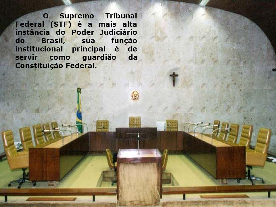 O Supremo Tribunal Federal (STF) é a mais alta instância do Poder Judiciário do Brasil, sua função institucional principal é de servir como guardião da Constituição Federal.