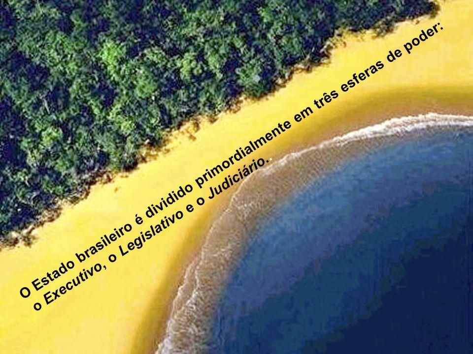 O Estado brasileiro é dividido primordialmente em três esferas de poder: