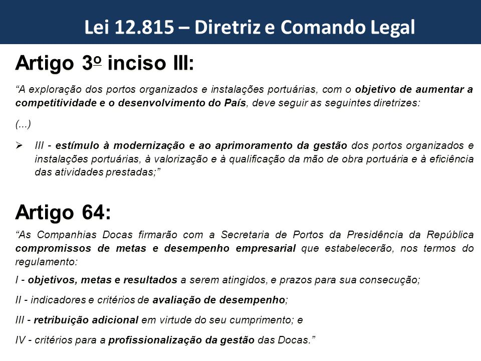 Lei 12.815 – Diretriz e Comando Legal