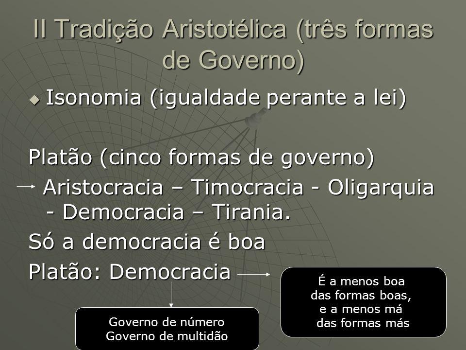 II Tradição Aristotélica (três formas de Governo)