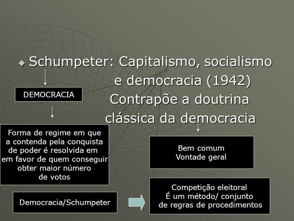Schumpeter: Capitalismo, socialismo e democracia (1942)