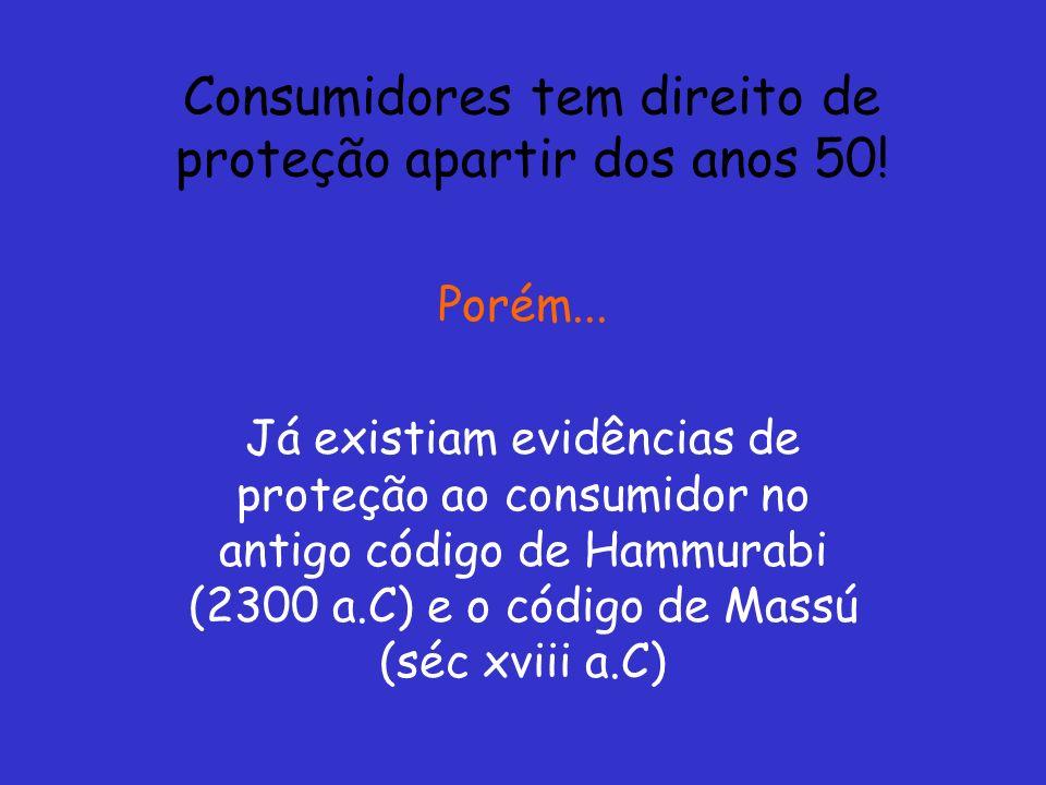 Consumidores tem direito de proteção apartir dos anos 50!