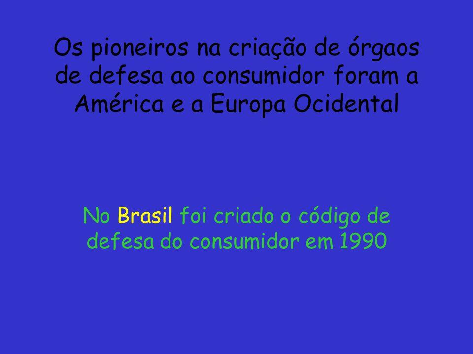 No Brasil foi criado o código de defesa do consumidor em 1990