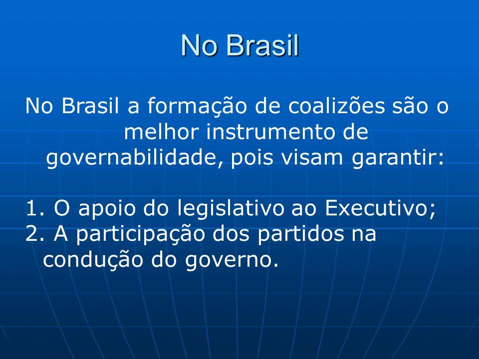 No Brasil No Brasil a formação de coalizões são o melhor instrumento de governabilidade, pois visam garantir: