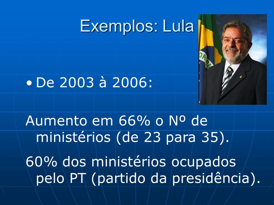 Exemplos: LulaDe 2003 à 2006: Aumento em 66% o Nº de ministérios (de 23 para 35).