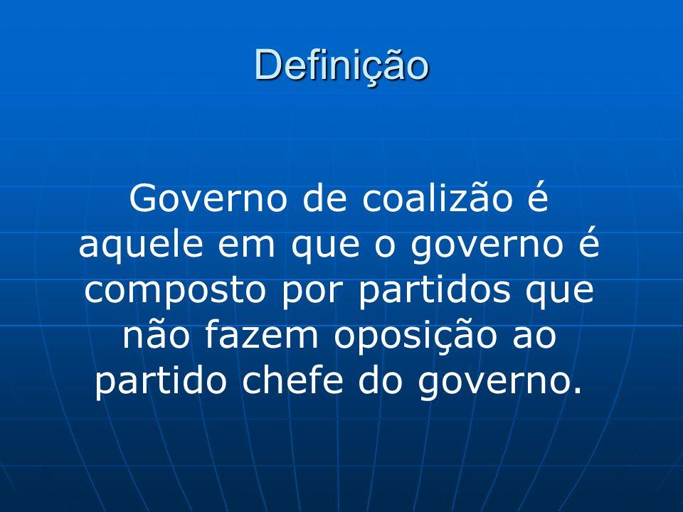 DefiniçãoGoverno de coalizão é aquele em que o governo é composto por partidos que não fazem oposição ao partido chefe do governo.