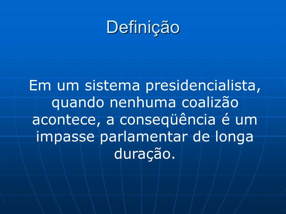 DefiniçãoEm um sistema presidencialista, quando nenhuma coalizão acontece, a conseqüência é um impasse parlamentar de longa duração.