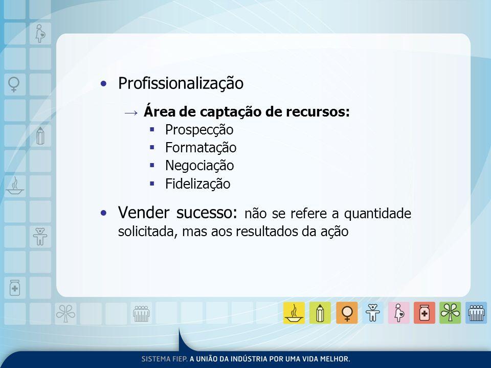 Profissionalização Área de captação de recursos: Prospecção. Formatação. Negociação. Fidelização.