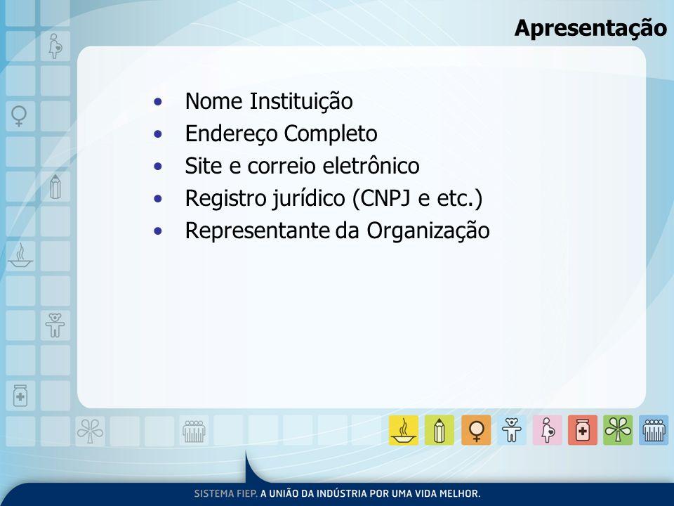 Apresentação Nome Instituição. Endereço Completo. Site e correio eletrônico. Registro jurídico (CNPJ e etc.)