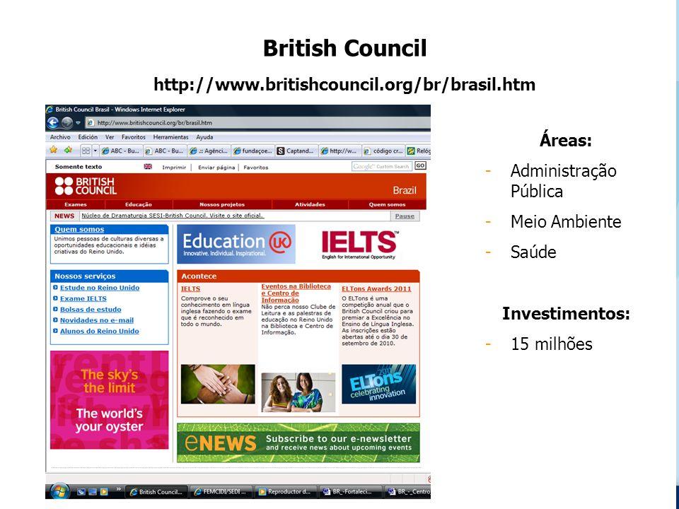 British Council http://www.britishcouncil.org/br/brasil.htm Áreas: