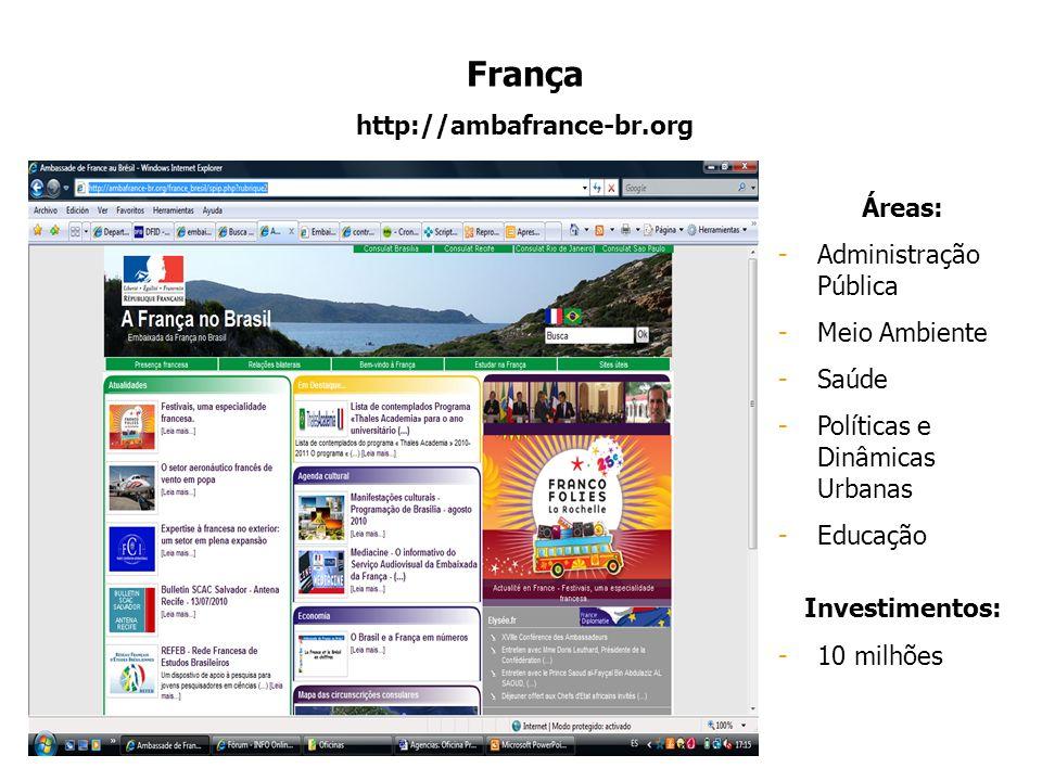 França http://ambafrance-br.org Áreas: Administração Pública