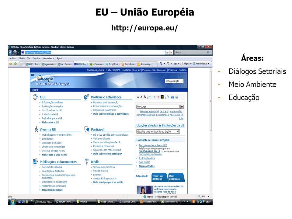 EU – União Européia http://europa.eu/ Áreas: Diálogos Setoriais