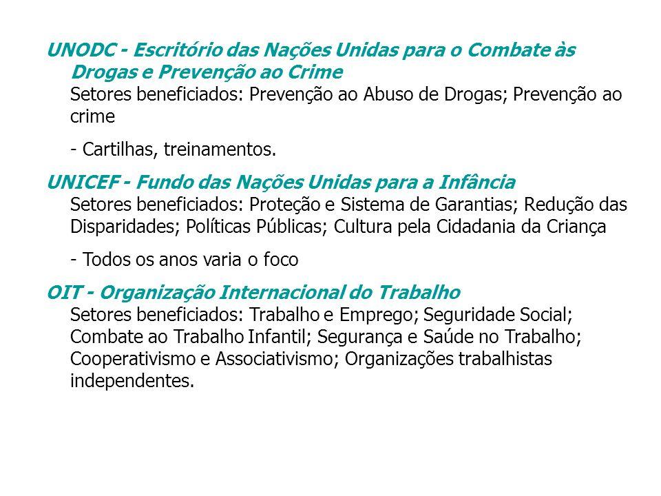 UNODC - Escritório das Nações Unidas para o Combate às Drogas e Prevenção ao Crime Setores beneficiados: Prevenção ao Abuso de Drogas; Prevenção ao crime