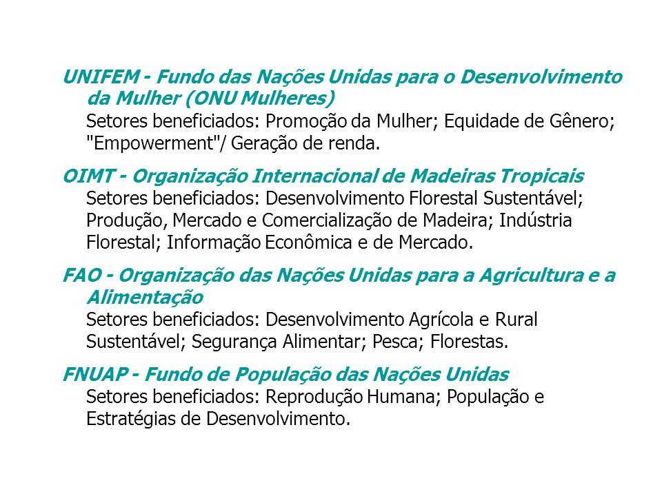 UNIFEM - Fundo das Nações Unidas para o Desenvolvimento da Mulher (ONU Mulheres) Setores beneficiados: Promoção da Mulher; Equidade de Gênero; Empowerment / Geração de renda.