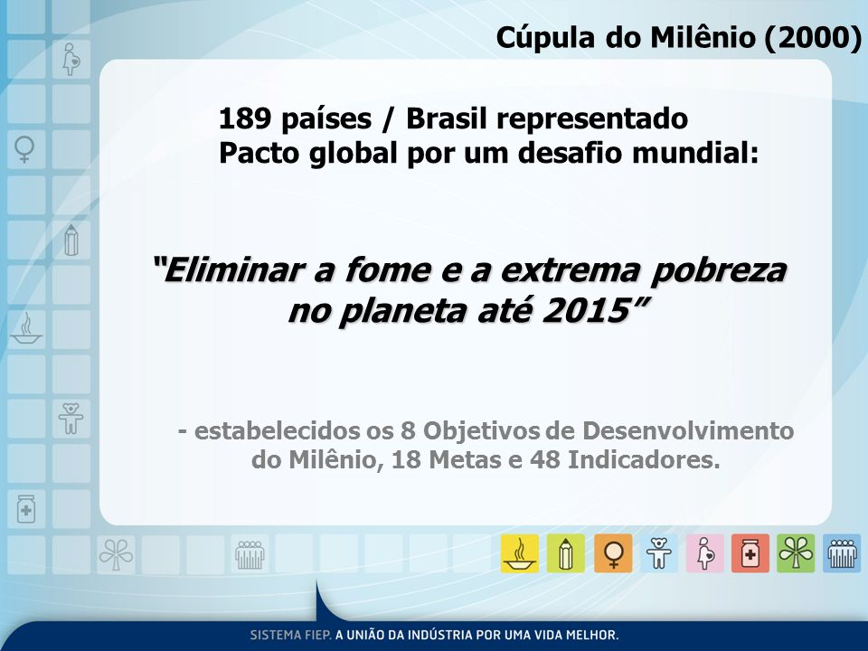 189 países / Brasil representado Pacto global por um desafio mundial: