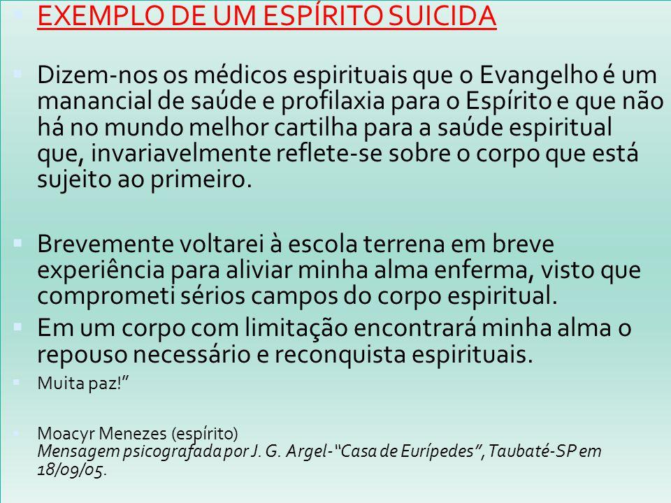 EXEMPLO DE UM ESPÍRITO SUICIDA