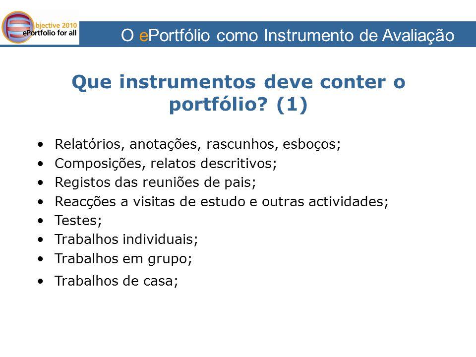 Que instrumentos deve conter o portfólio (1)