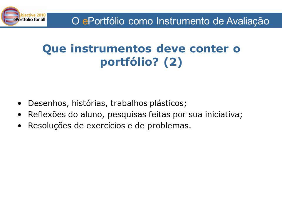 Que instrumentos deve conter o portfólio (2)
