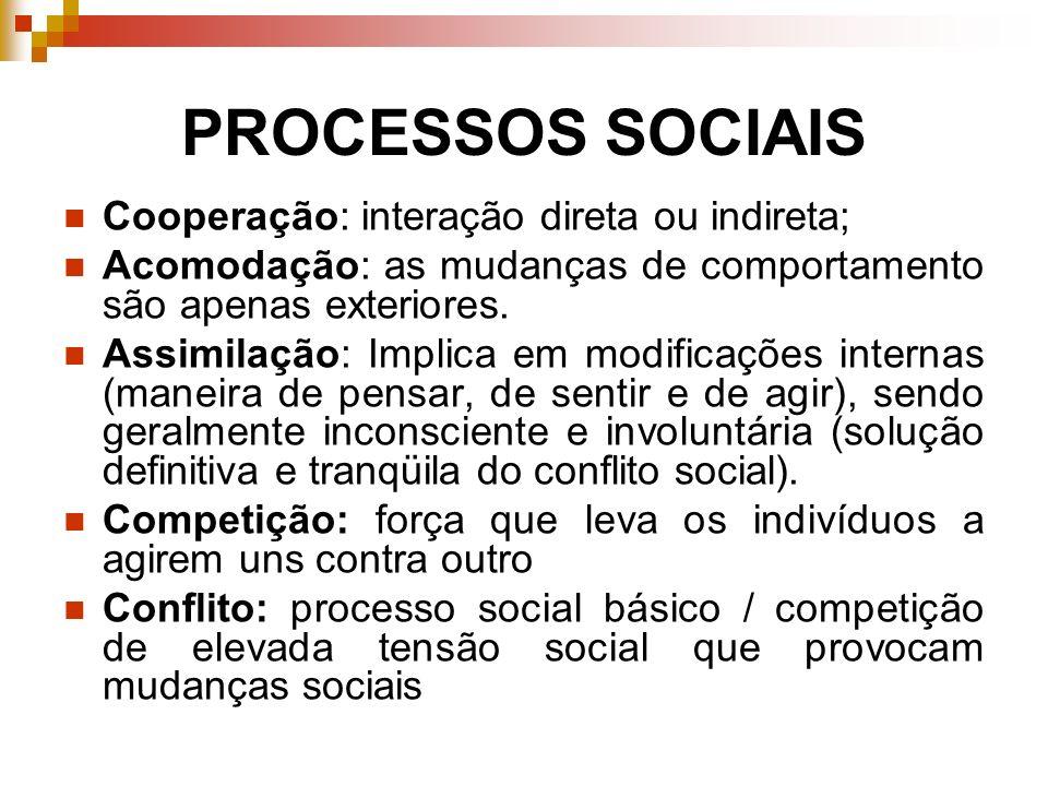 PROCESSOS SOCIAIS Cooperação: interação direta ou indireta;