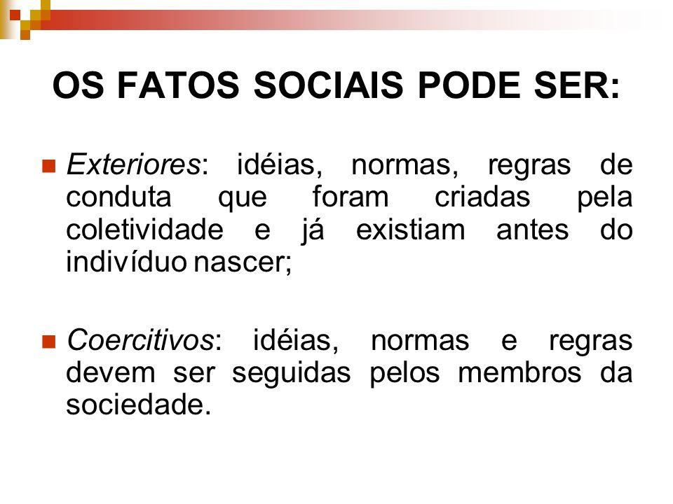 OS FATOS SOCIAIS PODE SER: