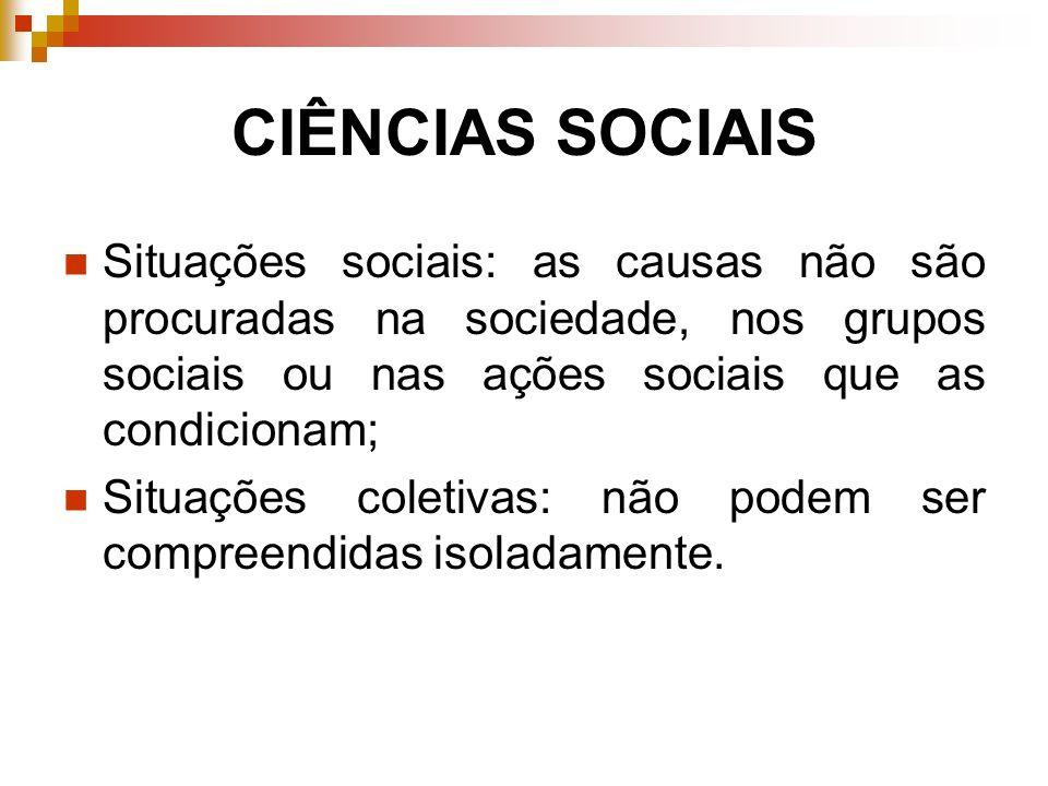 CIÊNCIAS SOCIAISSituações sociais: as causas não são procuradas na sociedade, nos grupos sociais ou nas ações sociais que as condicionam;