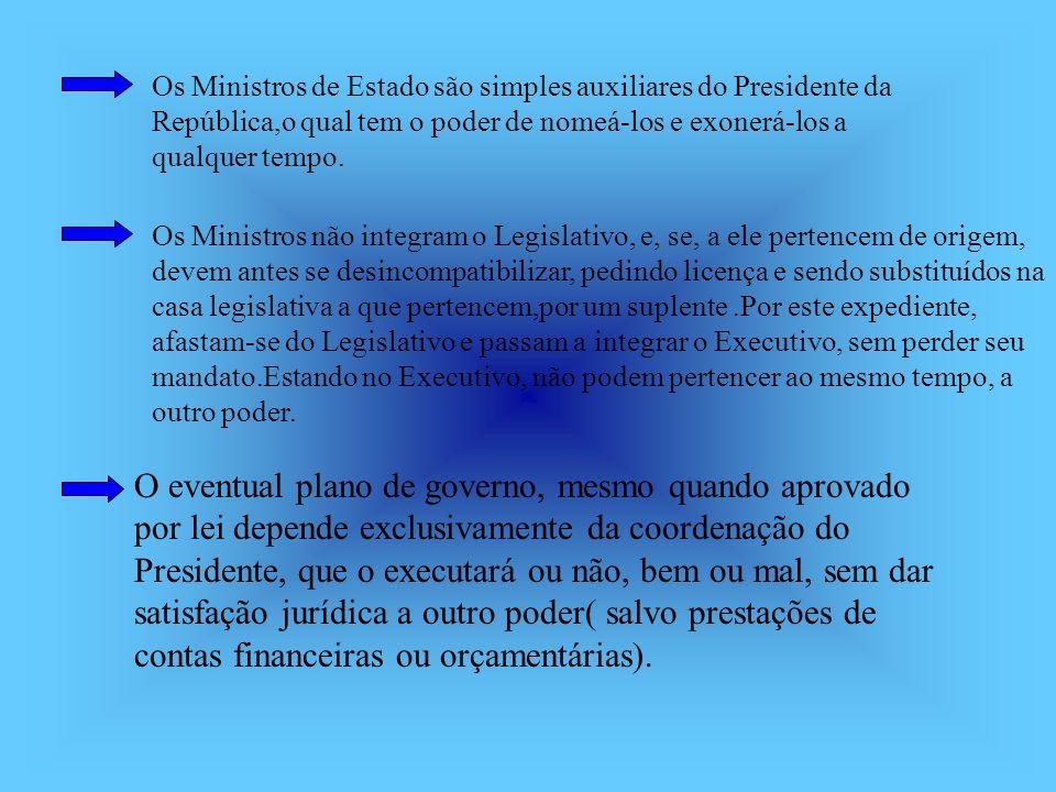 Os Ministros de Estado são simples auxiliares do Presidente da República,o qual tem o poder de nomeá-los e exonerá-los a qualquer tempo.
