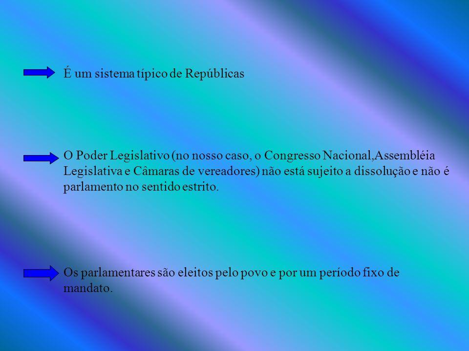 É um sistema típico de Repúblicas