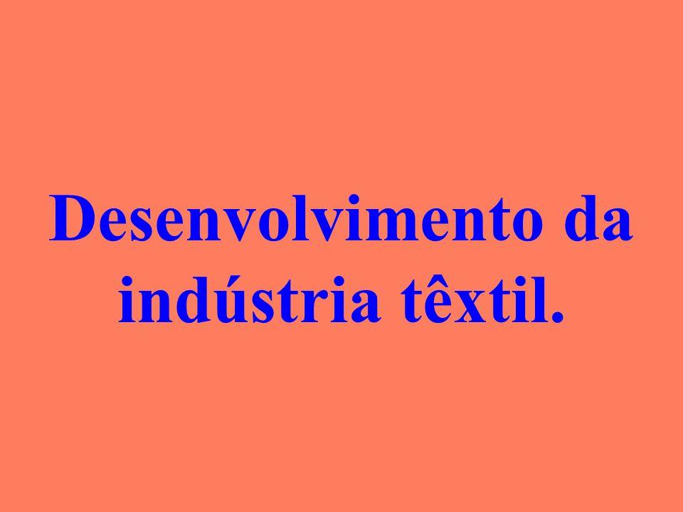 Desenvolvimento da indústria têxtil.