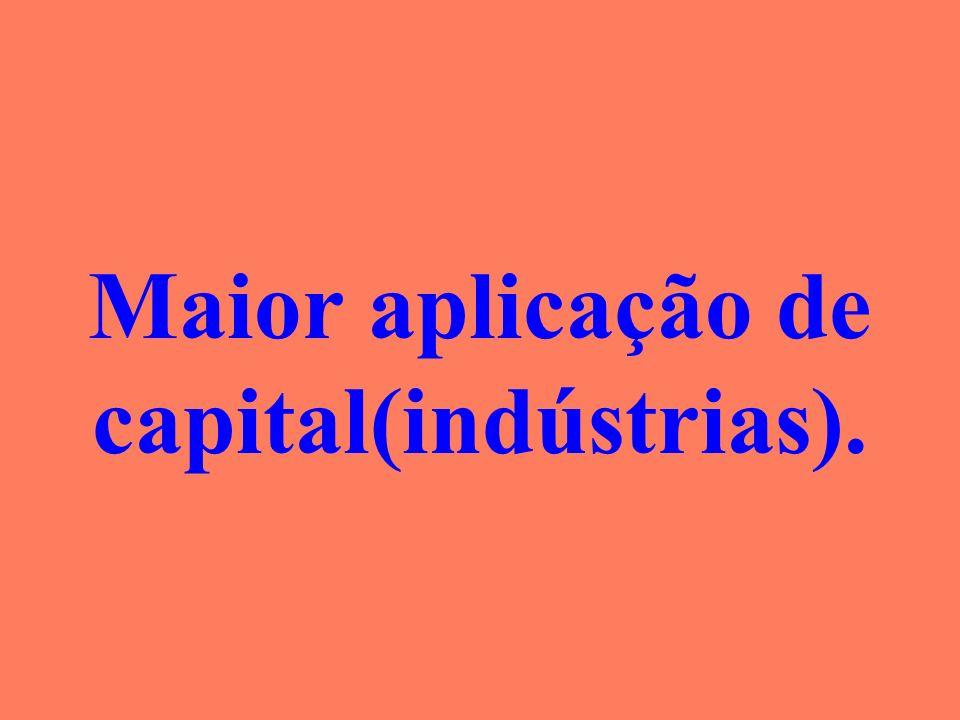 Maior aplicação de capital(indústrias).