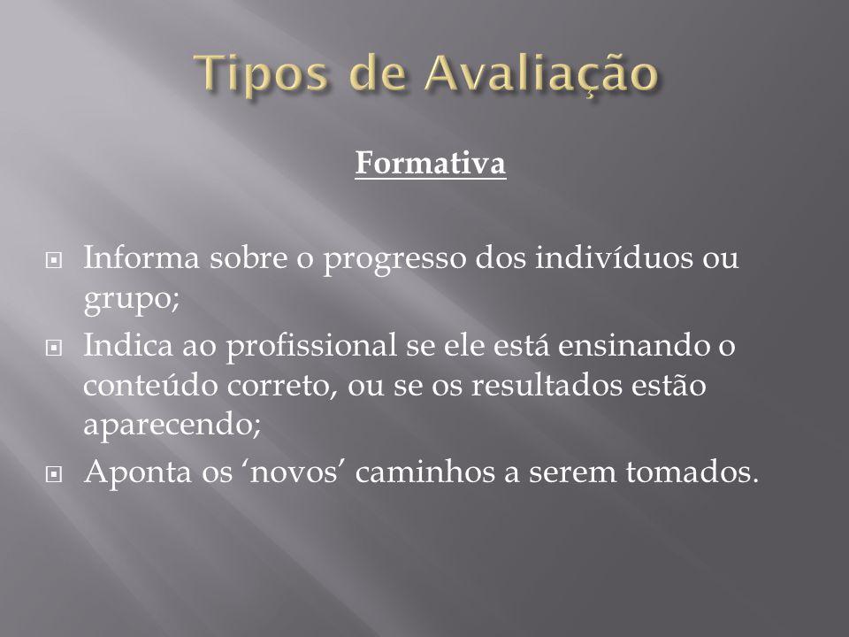 Tipos de Avaliação Formativa