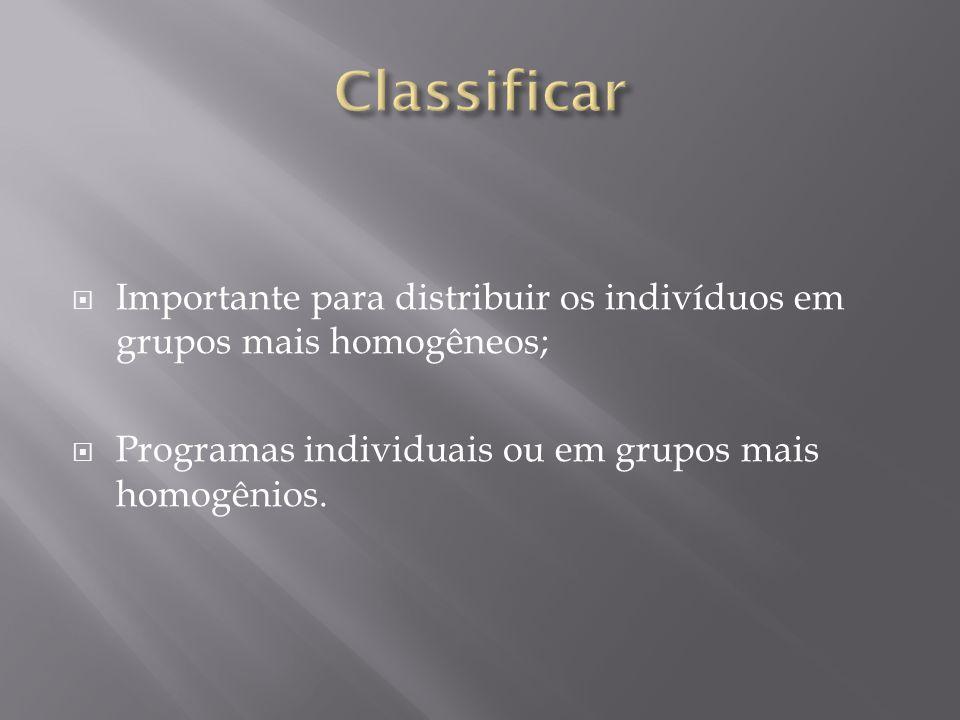 Classificar Importante para distribuir os indivíduos em grupos mais homogêneos; Programas individuais ou em grupos mais homogênios.