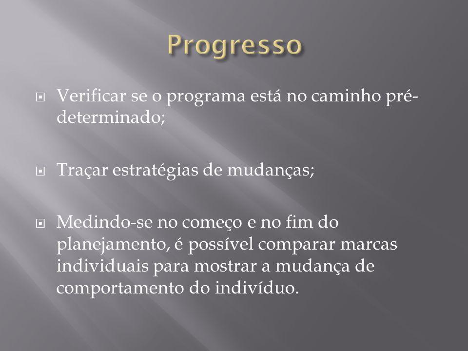 Progresso Verificar se o programa está no caminho pré-determinado;