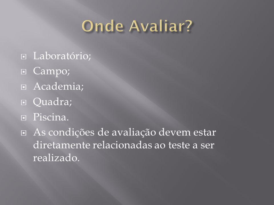 Onde Avaliar Laboratório; Campo; Academia; Quadra; Piscina.