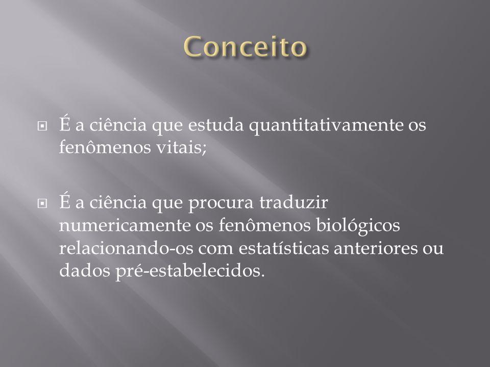 Conceito É a ciência que estuda quantitativamente os fenômenos vitais;