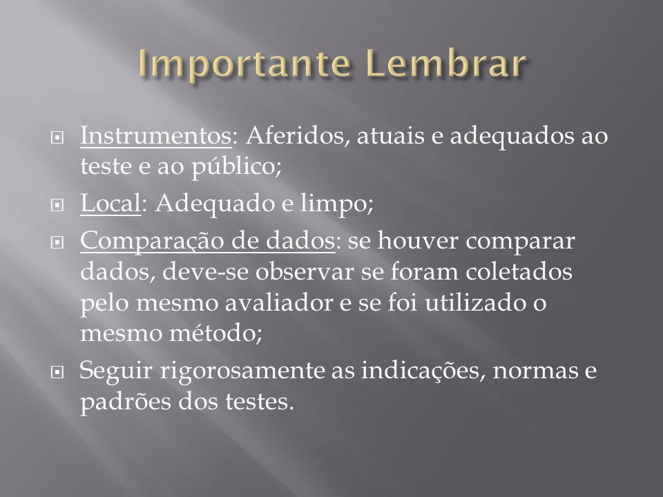 Importante Lembrar Instrumentos: Aferidos, atuais e adequados ao teste e ao público; Local: Adequado e limpo;
