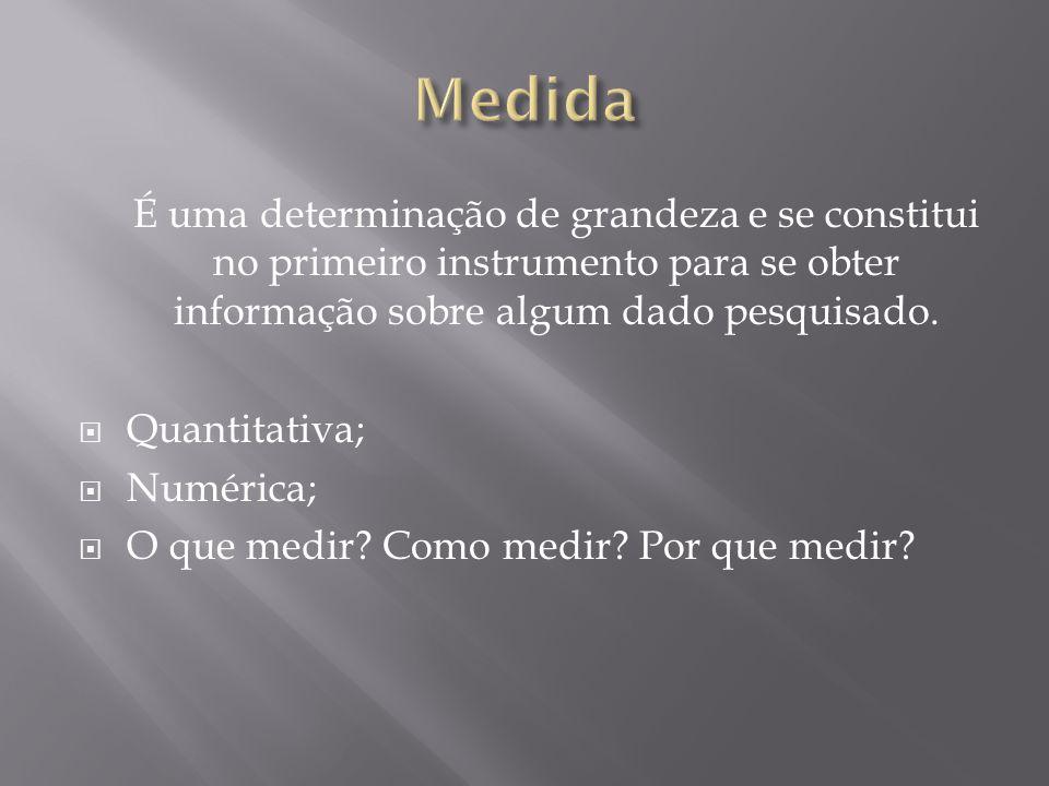 Medida É uma determinação de grandeza e se constitui no primeiro instrumento para se obter informação sobre algum dado pesquisado.
