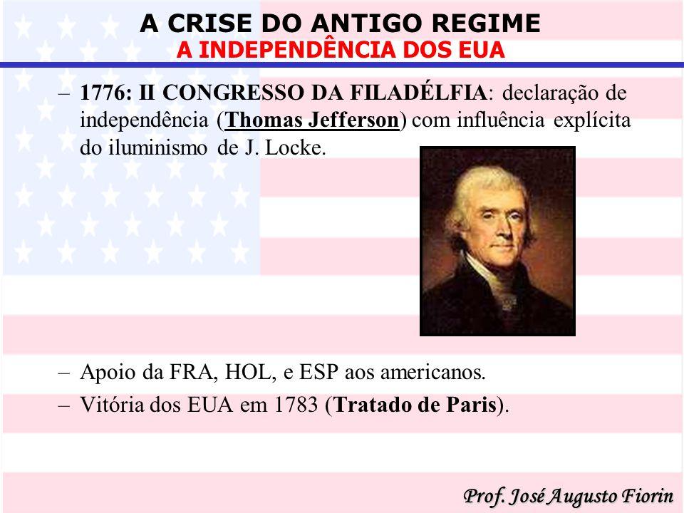 1776: II CONGRESSO DA FILADÉLFIA: declaração de independência (Thomas Jefferson) com influência explícita do iluminismo de J. Locke.