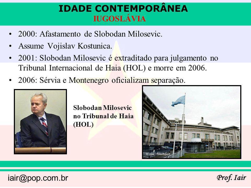 2000: Afastamento de Slobodan Milosevic. Assume Vojislav Kostunica.
