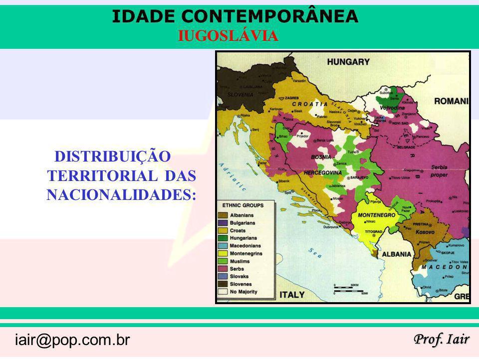 DISTRIBUIÇÃO TERRITORIAL DAS NACIONALIDADES: