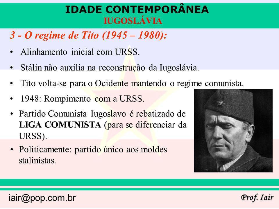 3 - O regime de Tito (1945 – 1980): Alinhamento inicial com URSS.