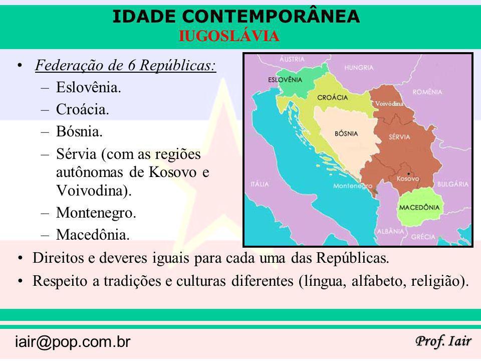 Federação de 6 Repúblicas: Eslovênia. Croácia. Bósnia.