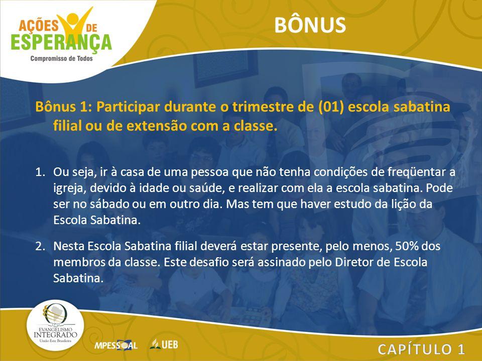 BÔNUS Bônus 1: Participar durante o trimestre de (01) escola sabatina filial ou de extensão com a classe.