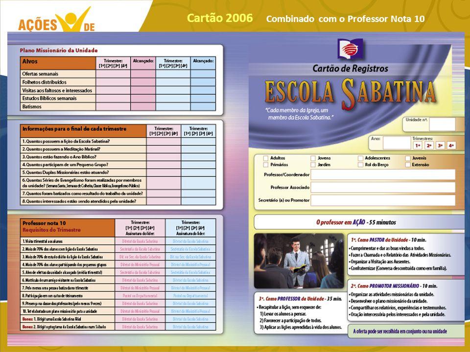 Cartão 2006 Combinado com o Professor Nota 10
