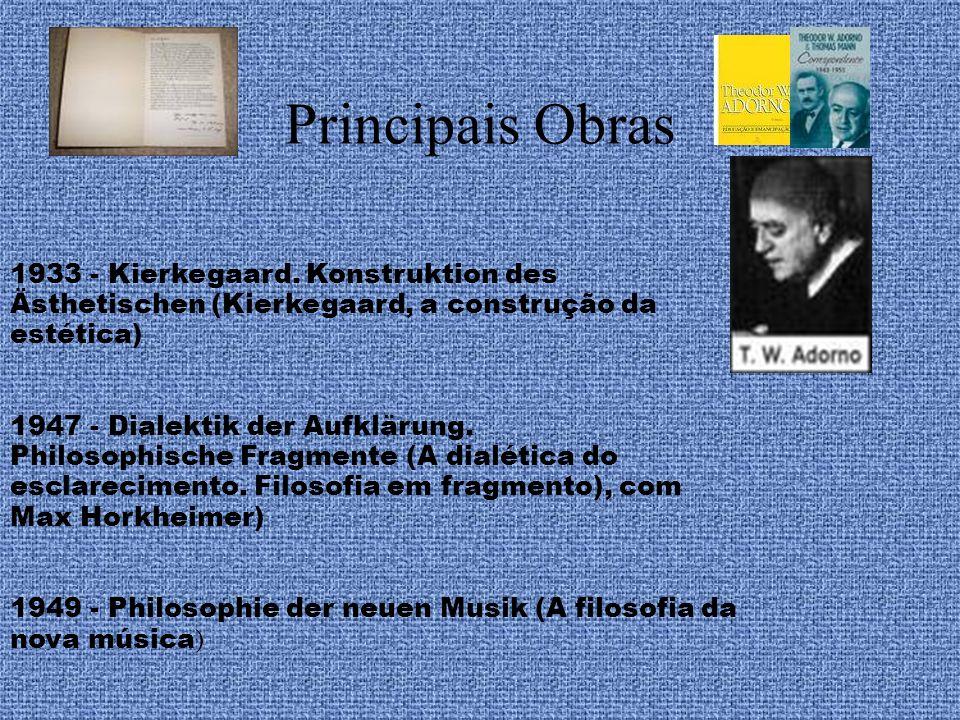 Principais Obras 1933 - Kierkegaard. Konstruktion des Ästhetischen (Kierkegaard, a construção da estética)